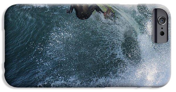 Steamer Lane iPhone Cases - Surfer at Steamer Lane iPhone Case by Bruce Frye