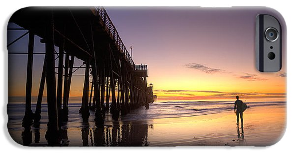 Board iPhone Cases - Surfer at Sunset iPhone Case by Peter Tellone