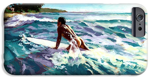 Surfer iPhone Cases - Surfer Coming In iPhone Case by Douglas Simonson