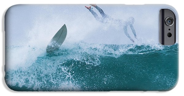 Luz iPhone Cases - Surfer Diving Into Water iPhone Case by Ben Welsh