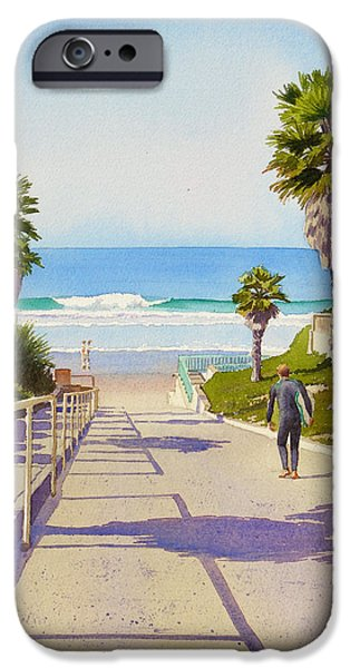 California Beach iPhone Cases - Surfer Dude at Fletcher Cove iPhone Case by Mary Helmreich