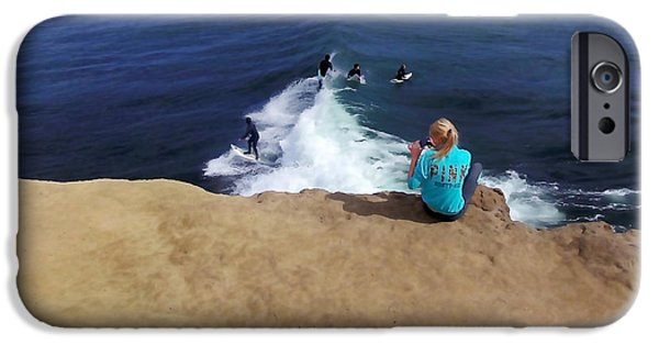 Santa Cruz Surfing iPhone Cases - Surfer Fan iPhone Case by Art Block Collections