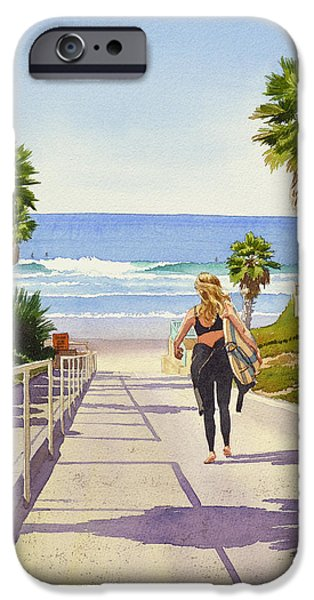 Fletcher iPhone Cases - Surfer Girl at Fletcher Cove iPhone Case by Mary Helmreich