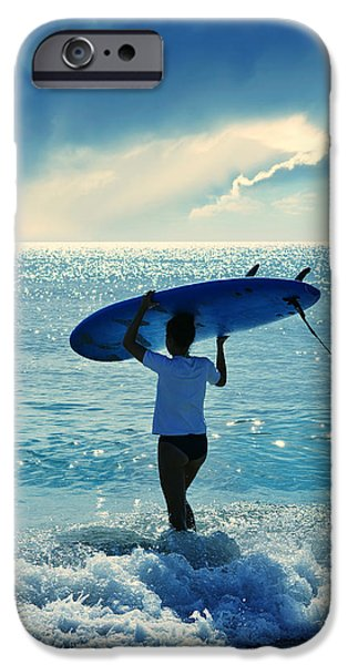 Surfer Art iPhone Cases - Surfer Girl iPhone Case by Laura  Fasulo