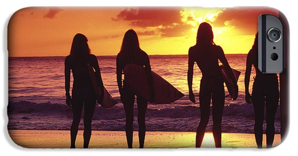 Surfer Art iPhone Cases - Surfer girl silhouettes iPhone Case by Sean Davey