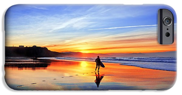 Recently Sold -  - Ocean Sunset iPhone Cases - Surfer In Beach At Sunset iPhone Case by Mikel Martinez de Osaba