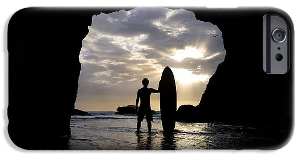 Reflections Of Sun In Water iPhone Cases - Surfer Inside A Cave At Muriwai New iPhone Case by Deddeda