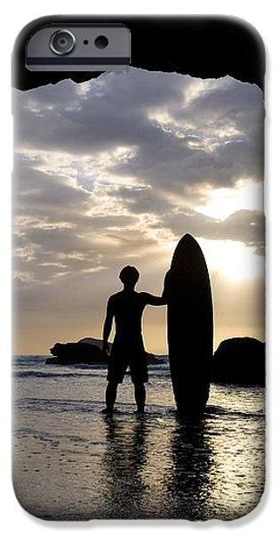 Surfer Inside A Cave At Muriwai New iPhone Case by Deddeda