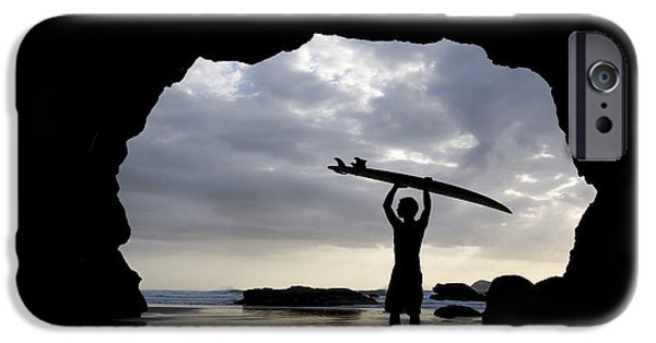 Water In Caves iPhone Cases - Surfer Inside A Cave At Muriwai North iPhone Case by Deddeda