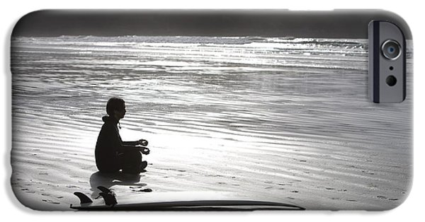 Sun Breakthrough iPhone Cases - Surfer Meditating On Beach, Cox Bay iPhone Case by Deddeda