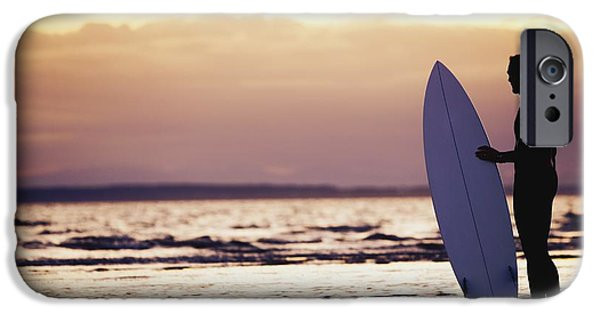 Surf Silhouette iPhone Cases - Surfer Silhouette iPhone Case by Daniel Sicolo