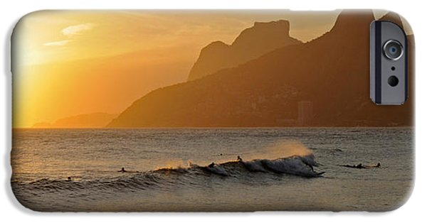 Recently Sold -  - Ocean Sunset iPhone Cases - Surfers At Sunset On Ipanema Beach, Rio iPhone Case by Panoramic Images