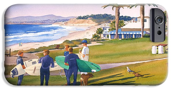 Surfer iPhone Cases - Surfers Gathering at Del Mar Beach iPhone Case by Mary Helmreich