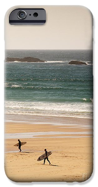 Surfers on beach 01 iPhone Case by Pixel Chimp