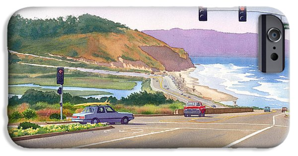 Pines iPhone Cases - Surfers on PCH at Torrey Pines iPhone Case by Mary Helmreich