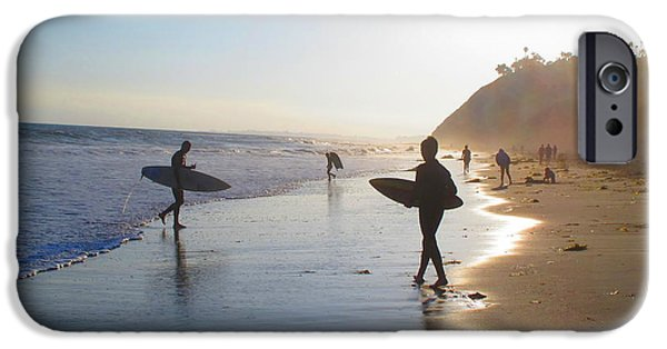 Santa Pyrography iPhone Cases - Surfers Silhouette iPhone Case by Shannon Kringen