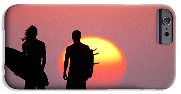 Surf Silhouette iPhone Cases - Surfers Sunset iPhone Case by Sean Davey