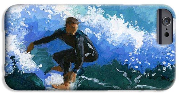 Wet Suit iPhone Cases - Surfin Huntington Beach Pier iPhone Case by Alice Leggett