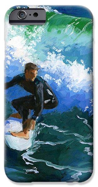 Surfin' Huntington Beach Pier iPhone Case by Alice Leggett
