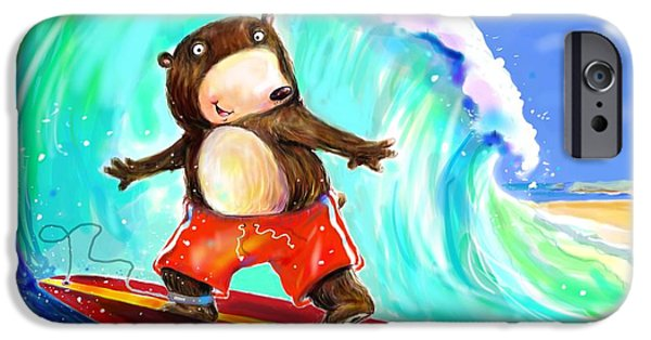 Scott Nelson Digital Art iPhone Cases - Surfing Bear iPhone Case by Scott Nelson