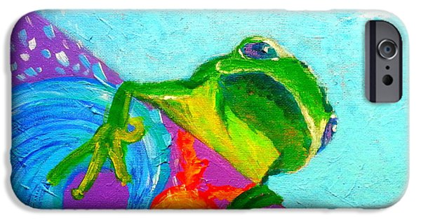 Board iPhone Cases - Surfing Froggie iPhone Case by Sue Jacobi