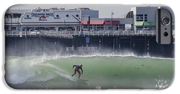 Santa Cruz Wharf iPhone Cases - Surfing in Santa Cruz iPhone Case by Bruce Frye