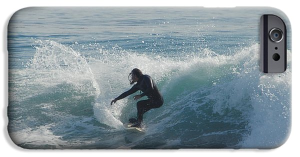 Santa Cruz Surfing iPhone Cases - Surfing In The Sun iPhone Case by Donna Blackhall