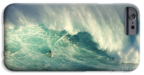 Surf Lifestyle Photographs iPhone Cases - Surfing Jaws Hang Loose Brother iPhone Case by Bob Christopher