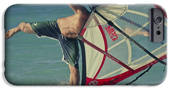 Wind Surfing Art iPhone Cases - Surfing Kanaha Maui Hawaii iPhone Case by Sharon Mau