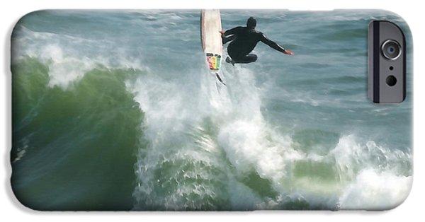 Santa Cruz Art iPhone Cases - Surfing Santa Cruz iPhone Case by Art Block Collections