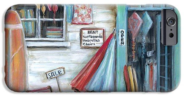 Beach Chair iPhone Cases - Surfs Up Beach Shop iPhone Case by Marilyn Dunlap