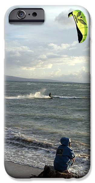 Wind Surfing Art iPhone Cases - Surfs Up iPhone Case by Mary Lou Chmura