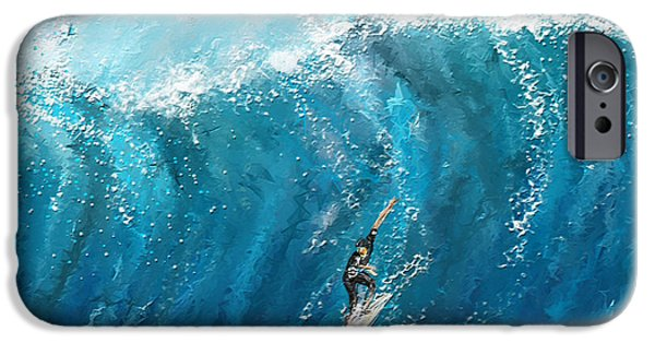 Big Waves iPhone Cases - Surfs Up- Surfing Art iPhone Case by Lourry Legarde