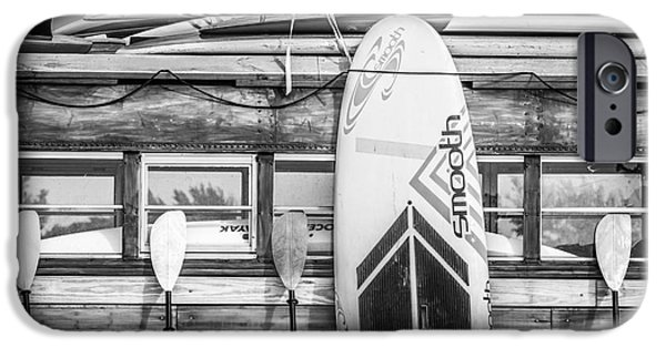 Board iPhone Cases - Surfs Up - Vintage Woodie Surf Bus - Florida - Black and White iPhone Case by Ian Monk