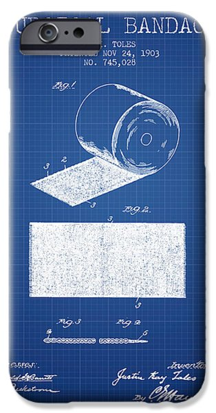 Surgical iPhone Cases - Surgical Bandage Patent from 1903- Blueprint iPhone Case by Aged Pixel