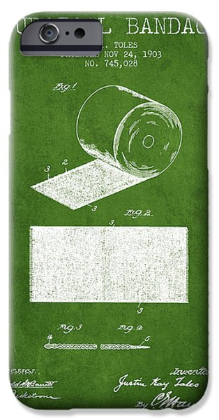 Surgical iPhone Cases - Surgical Bandage Patent from 1903- Green iPhone Case by Aged Pixel