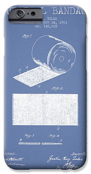 Surgical iPhone Cases - Surgical Bandage Patent from 1903- Light Blue iPhone Case by Aged Pixel