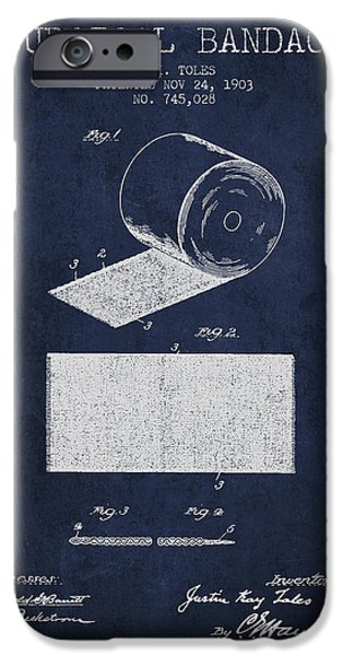Surgical iPhone Cases - Surgical Bandage Patent from 1903- navy Blue iPhone Case by Aged Pixel