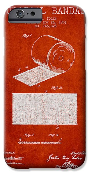 Surgical iPhone Cases - Surgical Bandage Patent from 1903- Red iPhone Case by Aged Pixel