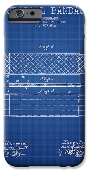 Surgical iPhone Cases - Surgical Bandage Patent from 1905- Blueprint iPhone Case by Aged Pixel