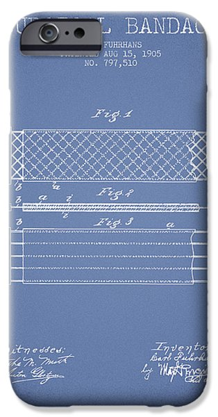 Surgical iPhone Cases - Surgical Bandage Patent from 1905- Light Blue iPhone Case by Aged Pixel