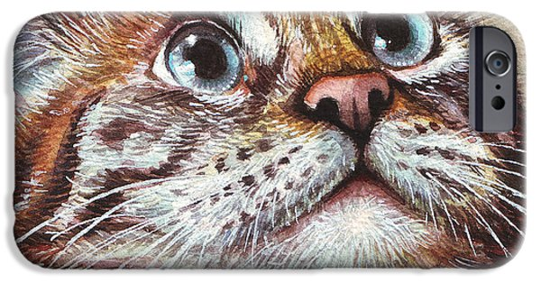 Pet iPhone Cases - Surprised Kitty iPhone Case by Olga Shvartsur