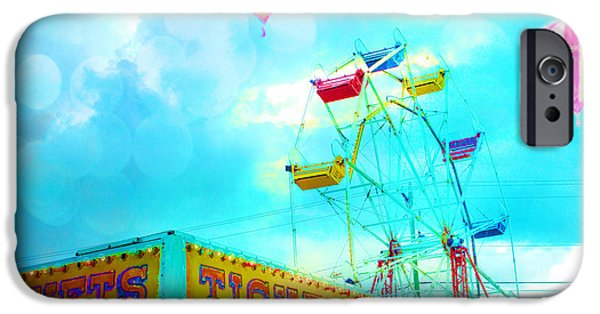 Hot Air Balloon iPhone Cases - Surreal Aqua Teal Carnival Tickets Booth With Ferris Wheel and Hot AIr Balloons - Carnival Fair Art iPhone Case by Kathy Fornal
