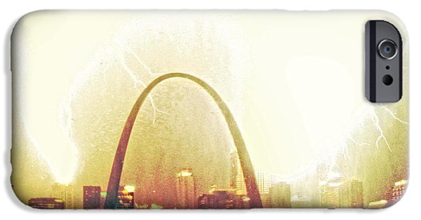 River Pyrography iPhone Cases - Surreal Blowout St Louis iPhone Case by Garry McMichael