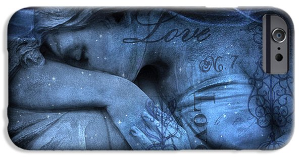 Print Photographs iPhone Cases - Surreal Blue Sad Mourning Weeping Angel Lost Love - Starry Blue Angel Weeping iPhone Case by Kathy Fornal