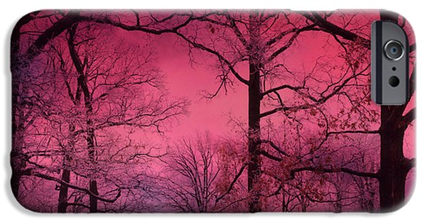 Dark Pink iPhone Cases - Surreal Dark Pink Fantasy Nature - Haunting Dark Pink Sky Nature Tree Forest Woodlands iPhone Case by Kathy Fornal