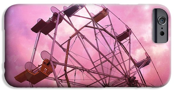 Dark Pink iPhone Cases - Surreal Dreamy Hot Pink Ferris Wheel in Pink Sky - Baby Girl Nursery Art Photos iPhone Case by Kathy Fornal