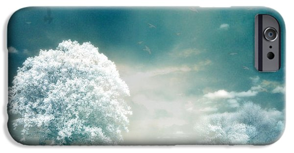 Park Scene iPhone Cases - Surreal Dreamy Infrared Teal Turquoise Aqua Nature Tree Lanscape iPhone Case by Kathy Fornal
