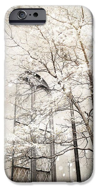 Snow Scene iPhone Cases - Surreal Dreamy Winter White Church Trees iPhone Case by Kathy Fornal