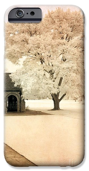Park Scene iPhone Cases - Surreal Ethereal Infrared Sepia Nature Landscape iPhone Case by Kathy Fornal